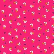 Papillon by Makower UK - 5155 - White Birds on Cerise Pink - 1761_P - Cotton Fabric